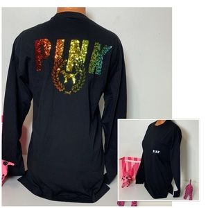 PINK VS BLING RAINBOW LOGO SEQUINED CAMPUS TEE